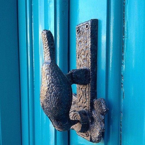 Ροπτρο. Roptro. Bird Door Knocker. Tinos. Triantaros. blue. Greece.