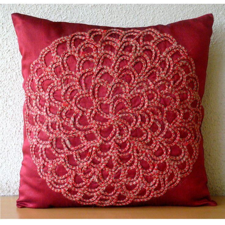"""Luxury Deep Red Jute Flower Pillows Cover, 20""""X20"""" Silk Pillowcase - Blossoming"""