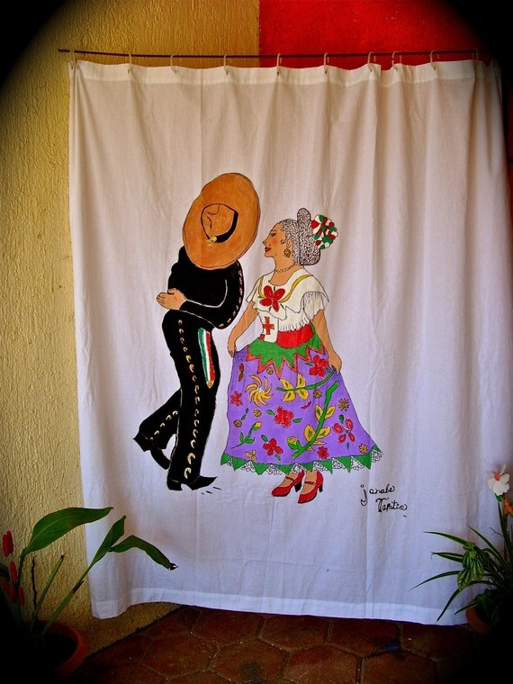 Mexican Dancers Hand Painted Shower Curtain