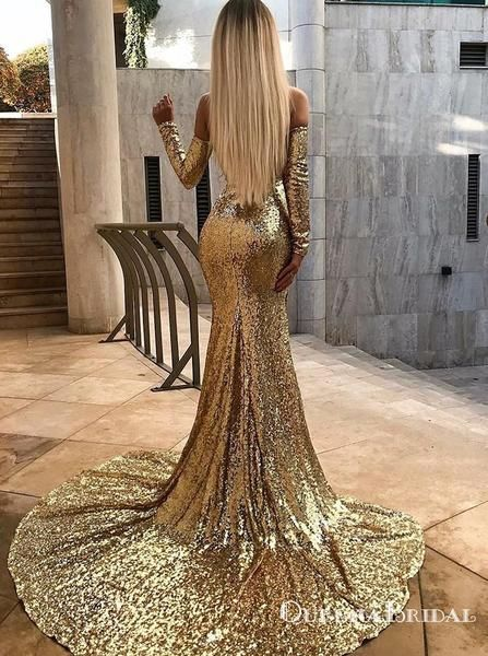 7864cabd7f Mermaid Off Shoulder Long Sleeves Gold Evening Prom Dresses, QB0540 ...