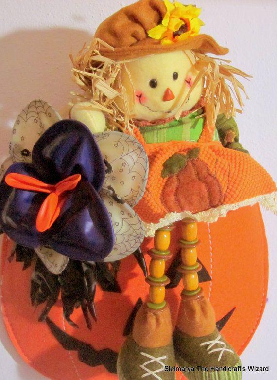 Halloween decoration to hang pumpkin orange felt di Stelmarya