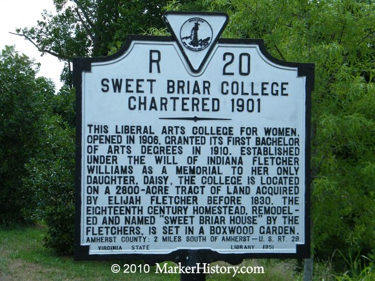 "Sweet Briar College Charted 1901 R-20 | Marker History // ""Virginia's cash-strapped Sweet Briar College will close at the end of the summer... part of a sharp decline in the number of U.S. women's schools. The 114-year-old school near Lynchburg is closing because of ""insurmountable financial challenges,"" President James Jones said."""