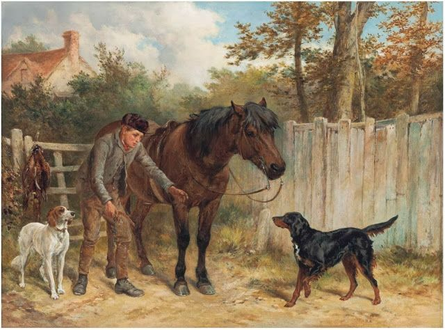 Джеймс Харди (1832-1889) - Молодой егерь с лошадью и собаками