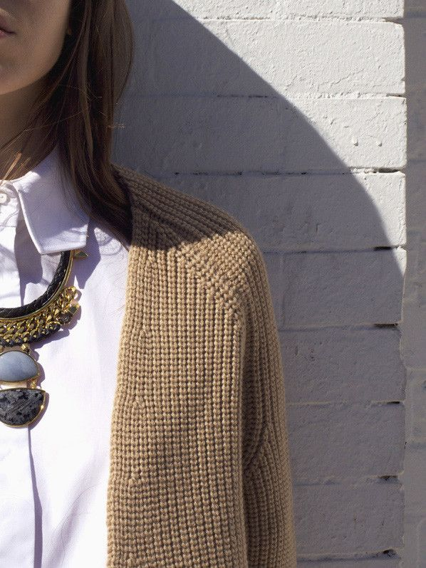 collared white shirt, cardigan sweater, statement necklace