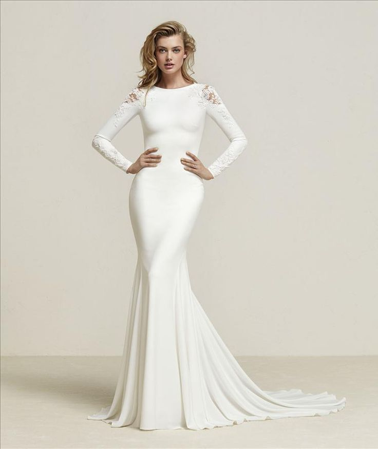 Popular Dreide Elegant mermaid style wedding dress in long sleeves and shoulder detailing and a design that streamlines the silhouette Pronovias