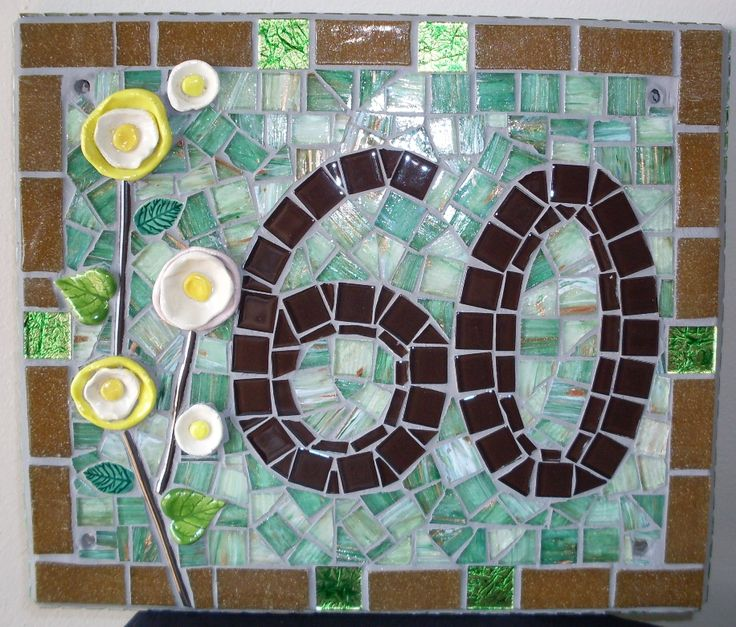 House number made with glass mosaic tiles and porcelain flowers. For my sister's new home