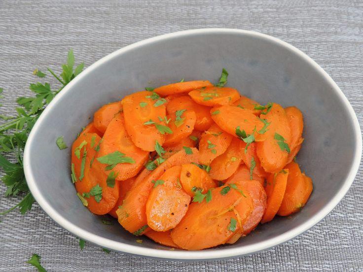Geglaceerde wortels met sinaasappel en honing