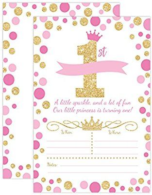 Amazon Your Main Event Prints Princess Birthday Invitations Girl First Party Invites Pink And Gold 1st 20 Fill In Style