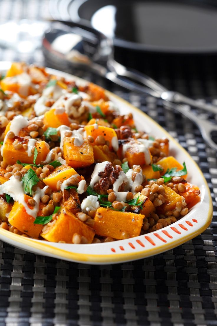 Roasted Butternut & Lentil Salad with Goat Cheese
