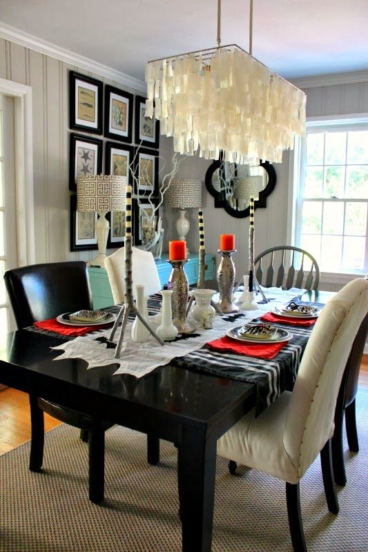 Love the light fixture southern state of mind halloween home in the twilight zone tablescape featuring capiz rectangular chandelier from west elm