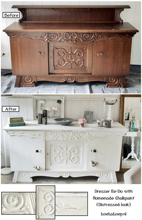 DIY: Dresser Re-Do With Homemade Chalkpaint (Distressed look) Before and After #furniture #home: