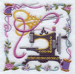 "Sewing Machine and Scissors Collage	Product ID:	E8443 Size:	3.86""(w) x 3.86""(h) (98 x 98 mm)	Color Changes:	23 Stitches:	19601	Colors Used:	16"