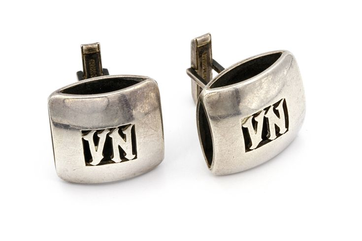 Huge Sterling Cufflinks, Large Silver Cuff Links, Handmade Cufflinks, Capo Italy Jewelry, Vintage 1950s Jewelry, Italian Sterling Links, VN Letters Engraved, Heavy Silver Cufflinks, Shadow Box Cufflinks, Puffy Sterling Links, Mens Fashion Jewelry, Mens Accessories, Formal Attire, Maffia
