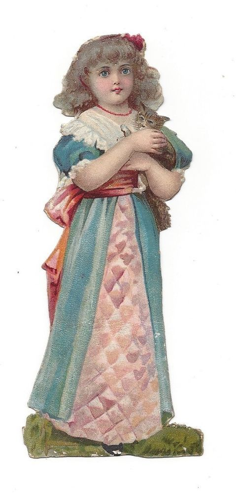 Victorian Die Cut Scrap Girl holding her kitten