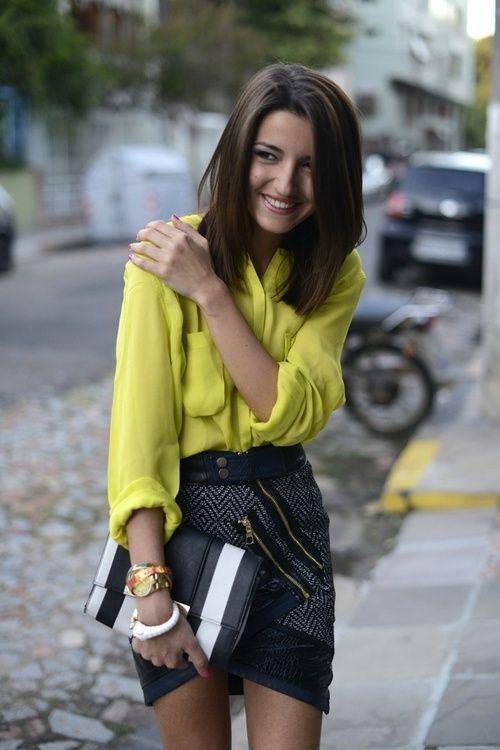 yellow top + black tweed asymmetrical skirt