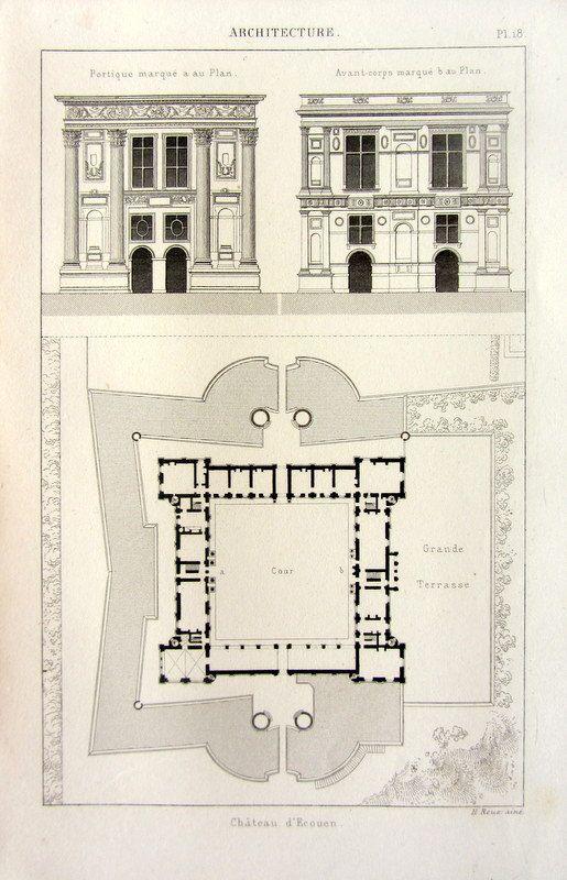 Castello di architettura, 1852 antichi stampa The Château d'Écouen, piano piano vintage stile arte rinascimentale incisione, Parigi Francia.