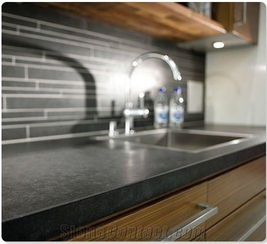 Honed Black Granite Kitchen Countertops, Boalt Black