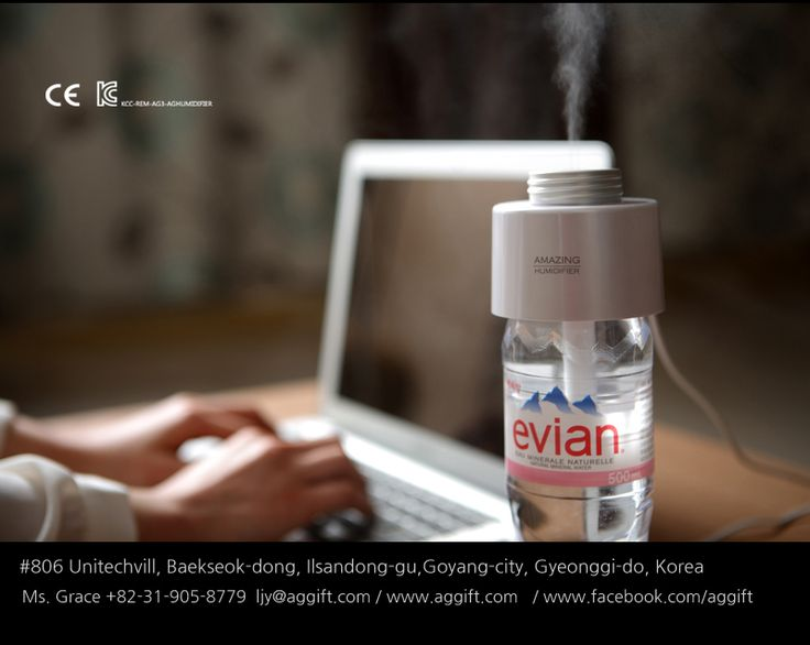 Portable Humidifier/ Mister/ Aroma Diffuser by Amazing Grace Co, Ltd: Turns a water bottle into a humidifier. Power via a smart phone cable, USB. #Humidifier