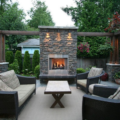 Outdoor Living Area With Fireplace   Contemporary   Patio   Vancouver   My  House Design Build Team