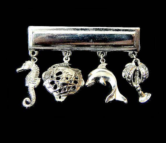 Charms Bar Pin Seahorse Dolphin Palm Tree Earth Silver Tone