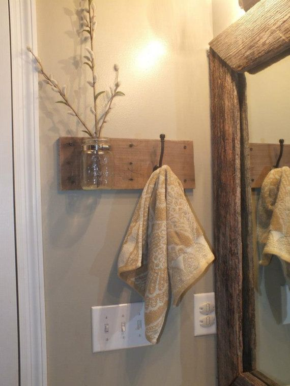wooden hand towel holder jars towels and the glass