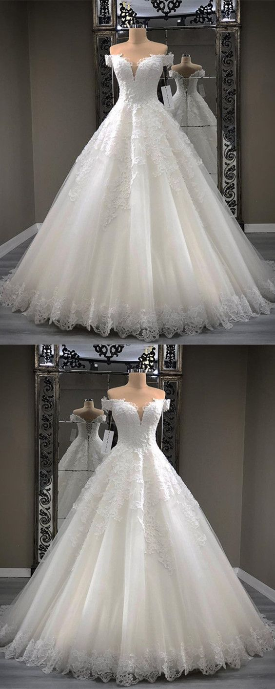 Lace Appliques Sweetheart Tulle Ball Gowns Wedding Dresses Off The Shoulder