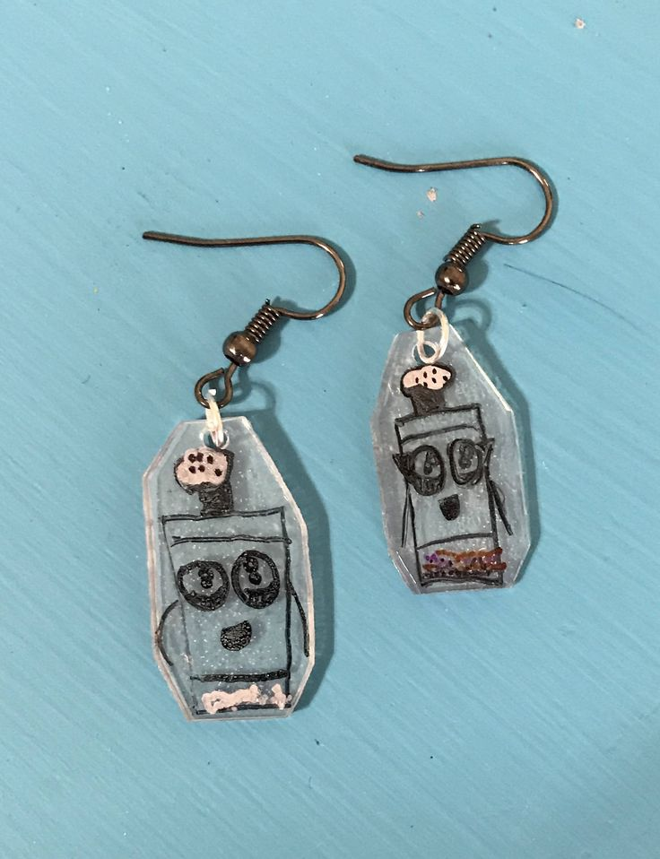 Mr Salt and Mrs Pepper Earrings - Recycled #6 Plastic Shrinky Dink earrings - Kids Clue Show Earrings - Blues character recycled earrrings by BombPopBoutique on Etsy