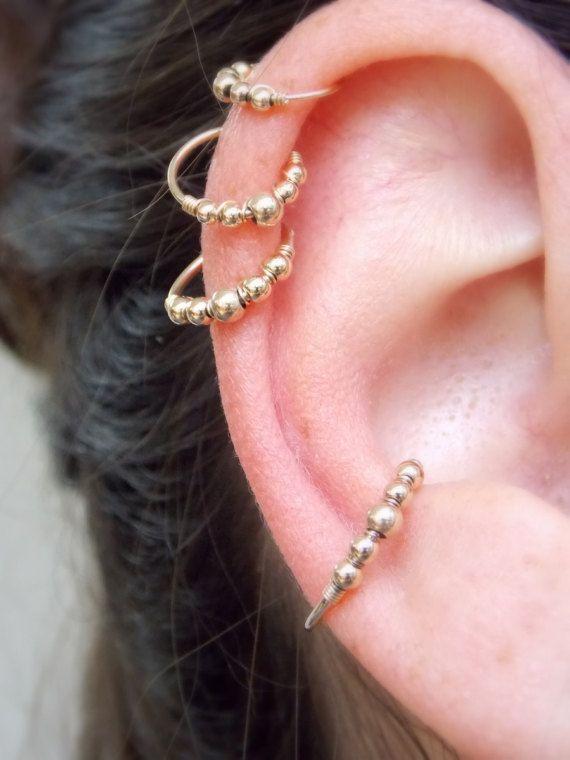 Beaded Conch Earring  Helix Earring  neus Ring hoepel