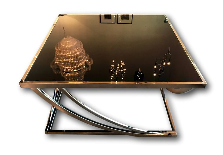 Chrome & black glass Coffee table with angled strust