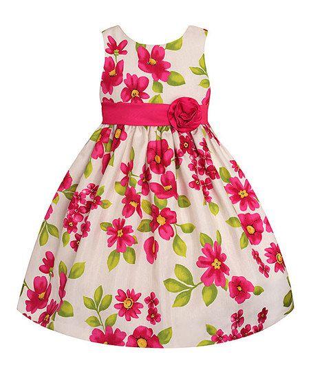 Cream & Fuchsia Floral Rosette Dress - Toddler & Girls. 12.99