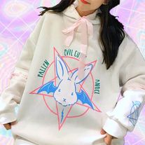 Hoodie with Ribbon Lace-Up Detailing and Pentagram Rabbit Graphic