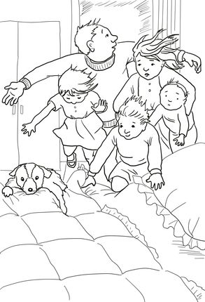 Into the Bedroom in to the Bed Under the Covers coloring page