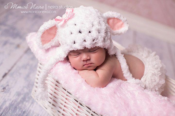 Baby girl hat-little lamb hat-crochet hat-newborn photography-photo prop. $28,00, via Etsy.