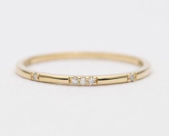 site réputé 63169 92efd Constellation Diamond Ring 14K Gold Wedding Band Engagement ...