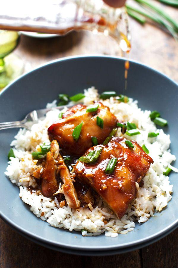 Sticky Bourbon Chicken with Rice