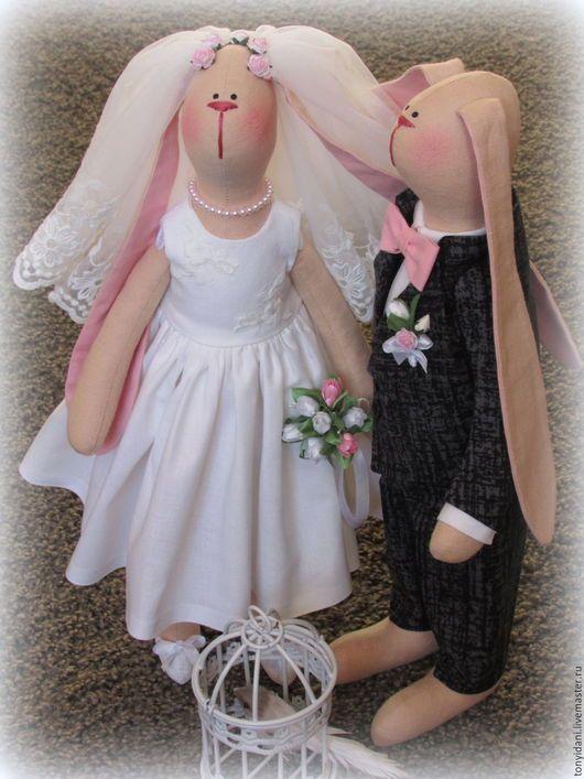 Куклы Тильды ручной работы. Свадебные Зайцы в стиле Тильда.. Евгения Крылосова. Ярмарка Мастеров. Зайцы текстильные, свадебная фотосессия