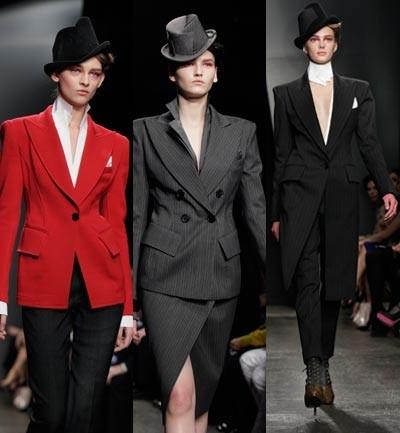 Donna Karan, Estilismos gangster, americanas que se vuelven vestidos, sombreros a medio lado.