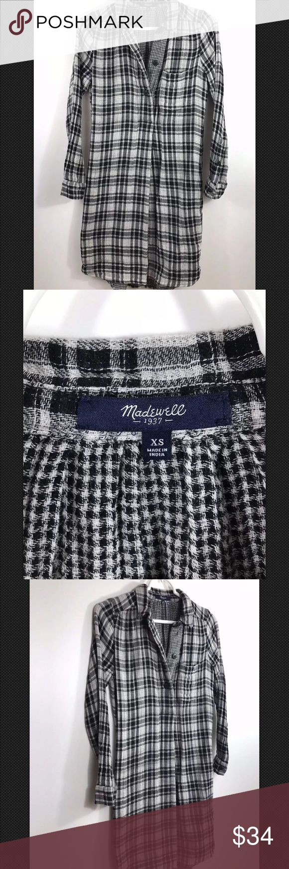 """MADEWELL DAYWALK Flannel Shirt Dress Black White MADEWELL DAYWALK Flannel Shirt Dress Black White Plaid  XSMALL Long Sleeve Excellent Condition No flaws, tears or marks Freshly Cleaned   SIZE: XSMALL Pit to pit: 17"""" Front Length: 34""""  Back Length: 35""""    Thanks for checking out my Closet Madewell Dresses Midi"""