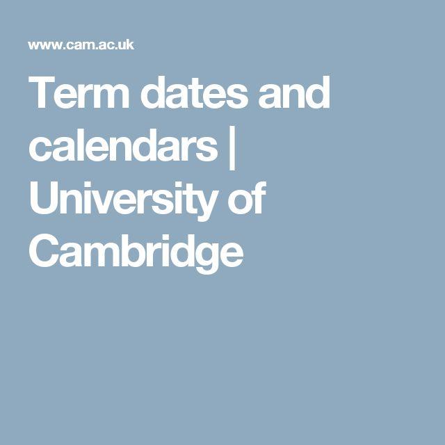 Term dates and calendars | University of Cambridge