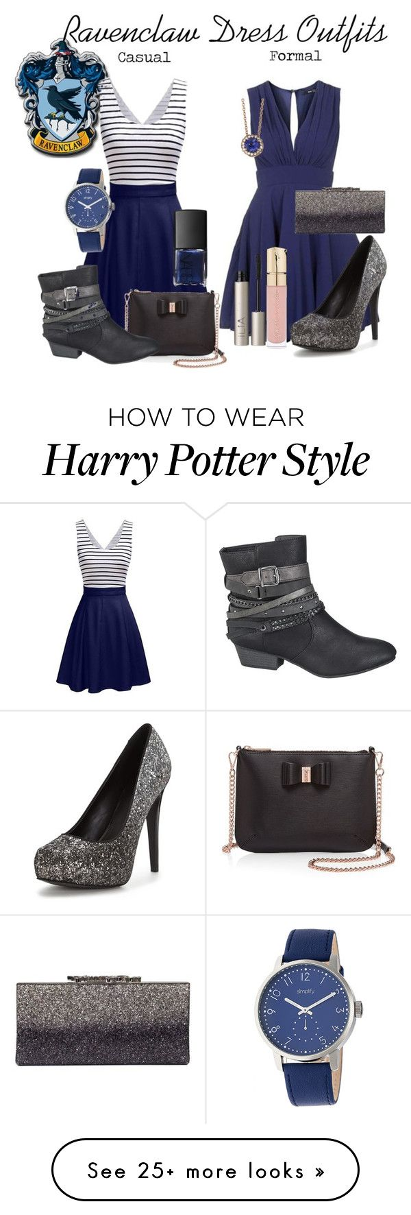 """""""Ravenclaw Inspired Dress Outfits"""" by starrydancer on Polyvore featuring TFNC, Jimmy Choo, Ted Baker, maurices, Smith & Cult, Ilia, NARS Cosmetics, Selim Mouzannar and Simplify"""
