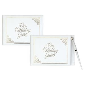 White Wedding Guest Book with Gold Foil Print (with or without pen)