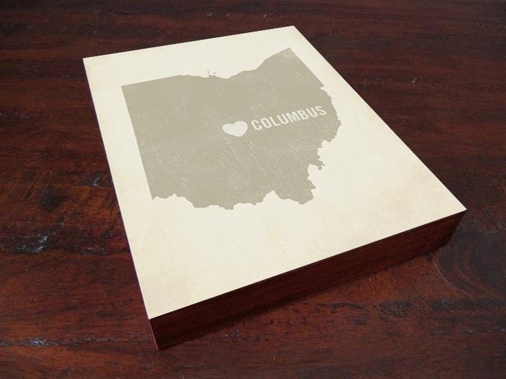 I Love Columbus Ohio 8x10 Wood Block Art Print - Ohio State City Heart