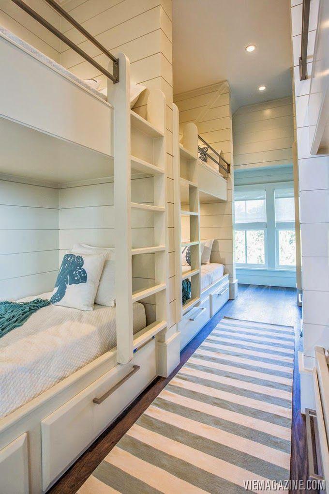 227 best bunk rooms images on pinterest bunk rooms for Beach house loft design
