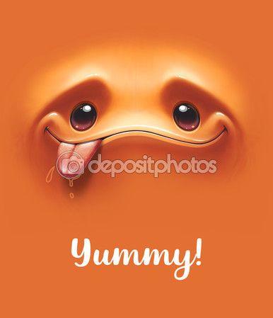 Голодные выразительные улыбающееся лицо мультфильм — стоковая иллюстрация #120688924
