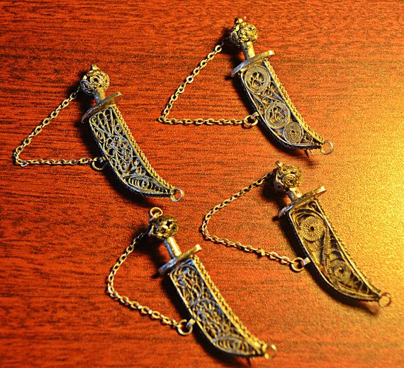 4 Vintage Sword Pins / Brooches Made In by Collectitorium on Etsy