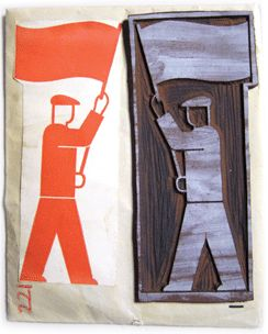 Gerd Arntz/Neurath, Otto: Isotype, since 1928. Linoleum-cut and print of an Isotype symbol by Gerd Arntz, 1930's, from the Arntz archive, now at the Municipal Museum, The Hague. The original linos show the precision of the craft work in the expressive traces of the gouge. The prints next to them are proofs made by Arntz.  Photo: Max Bruinsma.