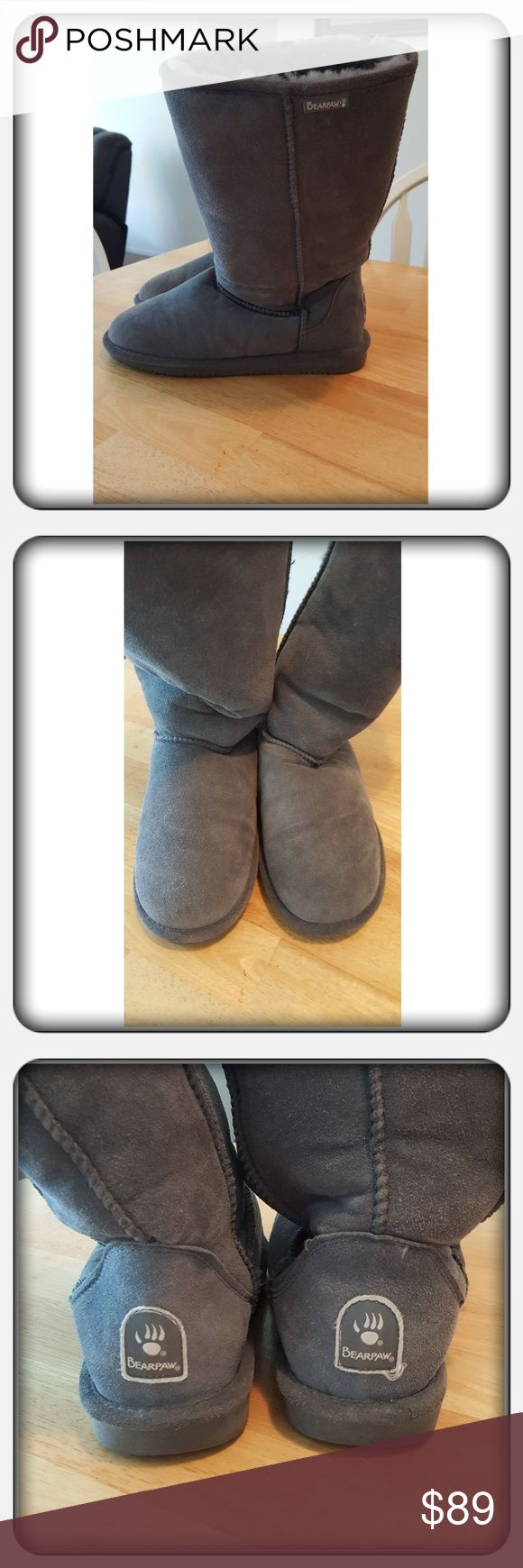 EUC Woman's Tall Grey Boots Sz 10M Woman's Tall Grey Boots Sz 10M By Bearpaw. These Are In Great Pre Loved Condition Worn Once Or Twice. There's No Wear To The Soles Or Damage I'm Aware Of. Great Boots For Fall And Winter Super Warm & Cozy 🚫 PAYPAL 🚫 TRADES 🚫 LOWBALLING ❤ BearPaw Shoes Winter & Rain Boots