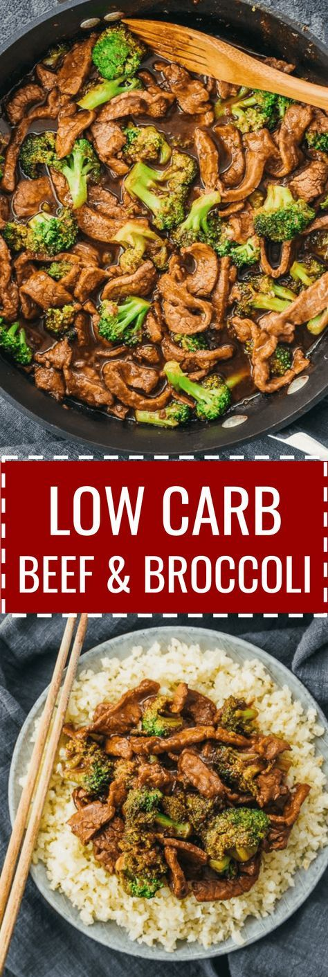 A low carb and keto friendly version of beef and broccoli stir fry. cauliflower rice / veggies / dinners / diet / atkins / induction / meals / recipes / easy / dinner / lunch / foods / healthy / gluten free / panda express / chinese / sauce / stirfry / mongolian / best / korean / asian / marinade / pf changs / quick / authentic / simple / flank steak / skillet / take out #beef #dinner #lowcarb #healthy