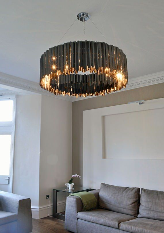 Tom Kirk Lighting Facet Chandelier Black Nickel | Contemporary Lighting Project