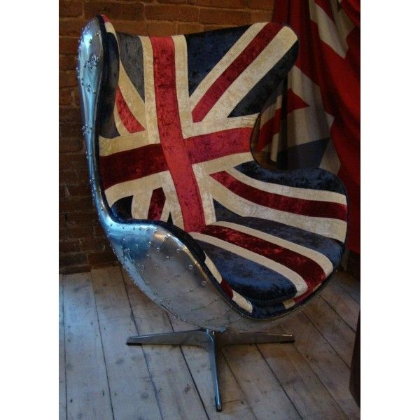 Union Jack fabric upholstered swivel chair, Aluminium range £1100.00